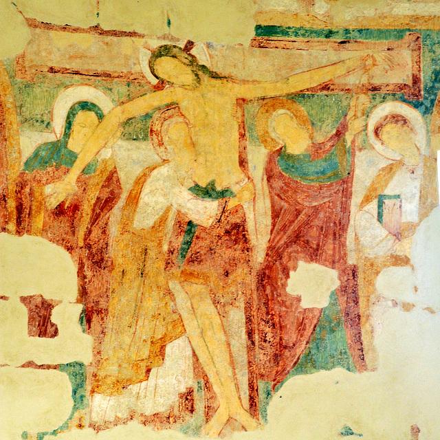 Descente de la croix - fresques XIIe s. de la Chapelle du Liget