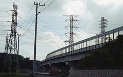 Freeway and electricity towers