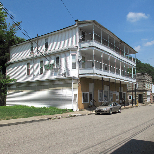 """3 big floors of """"Maybert House,"""" upstairs residences of Northern West Virginians in the town of Hundred which was named for a centenarian man."""