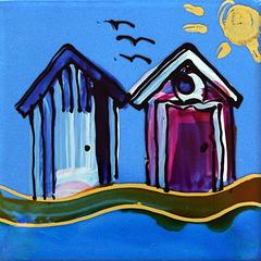 Beach Huts on Blue