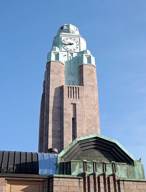 The Clock Tower on the Central Train Station in Helsinki, April 2013
