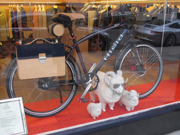 Sheep with bike