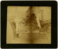 A Man Pushing Himself on a Wheelbarrow