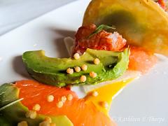 Sous Vide Lobster with Aji Amarillo Yuzu Vinaigrette, Rise Crackers, Spicy Edamame Mascarpone Dumpling, and Jicama Avocado Grapefruit Salad Macro