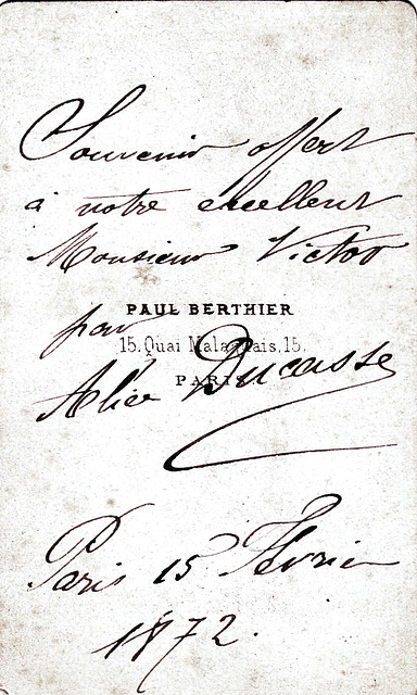 Alice Ducasse's autograph at the back