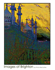 Royal Pavilion Brighton - photo by Mike Sutters - silhouette with gulls - super saturated