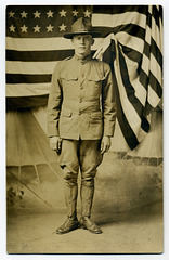 World War I Soldier Oscar G. Frederick with Flag