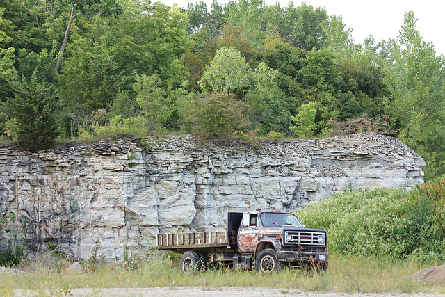 quarry face & truck