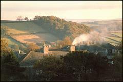 chimney on an autumn morning