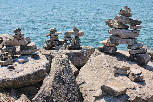 a school of stone men