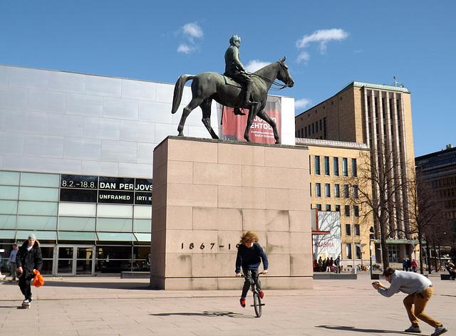 The Statue of Mannerheim and Kiasma in Helsinki, April 2013