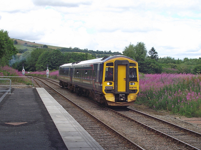 158715 approaches Dingwall through the fireweed