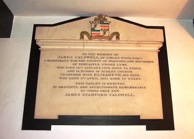 Caldwell Memorial, Saint Martin's Church, Talke, Staffordshire
