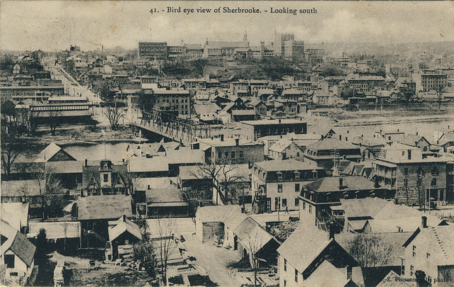 Bird eye view of Sherbrooke. - Looking south