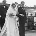 (133) Jens Bergum (bak) og brudeparet Hilma (Svendsen) og Signold Solem, 16. august 1950