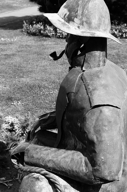 Metal fisherman sculpture, Filey, North Yorkshire
