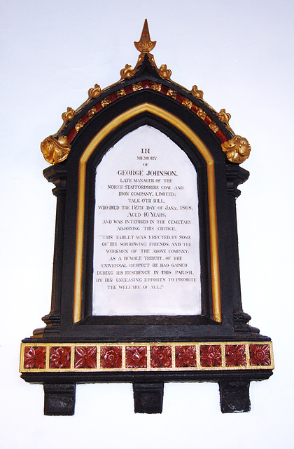 Memorial to George Johnson, Manager of the North Staffordshire Coal and Iron Company, Saint Martin's Church, Talke, Staffordshire