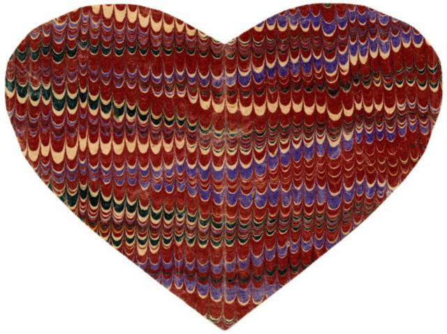 Handmade Valentine on Marbled Paper