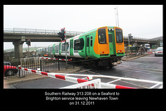 Southern 313 208 leaving Newhaven Town station on 31.12.2011