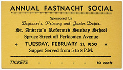 Annual Fastnacht Social, St. Andrew's Reformed Sunday School, Reading, Pa., Feb. 21, 1950