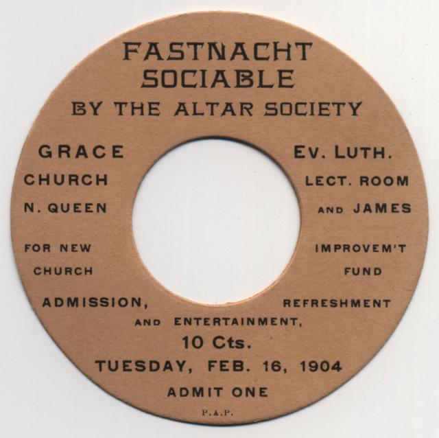 Fastnacht Sociable, Grace Evangelical Lutheran Church, Lancaster, Pa., Feb. 16, 1904
