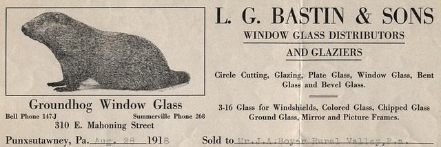Groundhog Window Glass, Punxsutawney, Pa., 1918