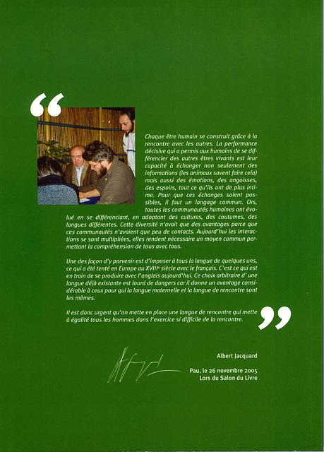 Albert Jacquard : Ami de l'espéranto / Amiko de Esperanto