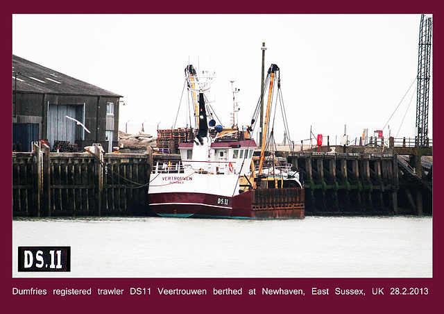 Dumfries trawler DS11 Vertouwen Newhaven Sussex 28 2 2013