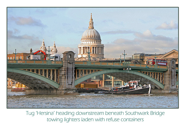 Hersina with refuse lighters at Southwark Bridge