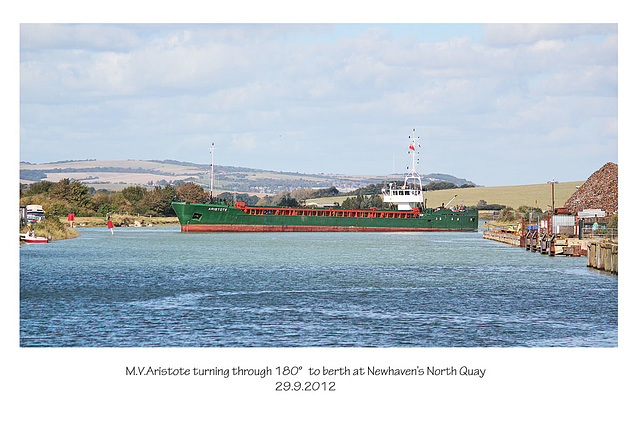 MV Aristote doing a 180 degree turn - Newhaven - 29.9.2012