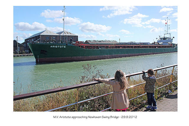 MV Aristote at Newhaven Swing Bridge 29 9 2012