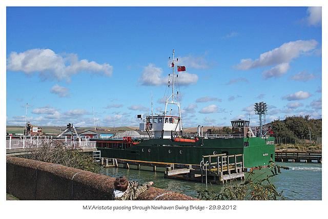 MV Aristote through Newhaven Swing Bridge 29 9 2012