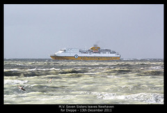 MV Seven Sisters leaving Newhaven 13 12 2011 into storm