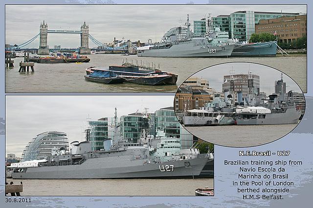 N E Brasil U27 - Brazilian training ship - alongside H.M.S.Belfast - London - 30.8.2011
