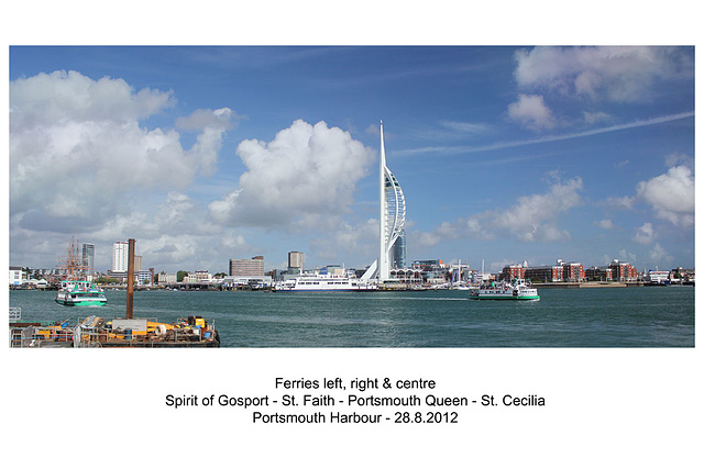 Portsmouth Harbour with ferries - 28.8.2012