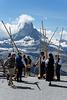 Alphorn Players in front of the Matterhorn