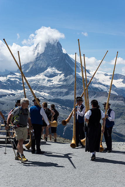 Alphorn Players in front of the Matterhorn