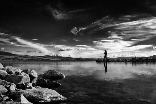 The Lone Fisherman, Loch Landsaidh, Dornoch, Sutherland, Scottish Highlands