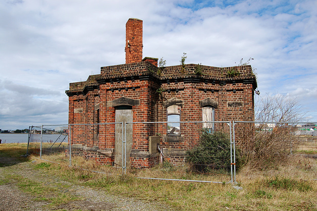 Derelict Victorian office Alfred Dock, Wallasey, Merseyside