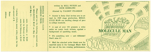 Molecule Man: An Atomic-Zany Musical Satire, 1949 (Order Form)