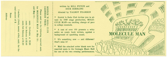 Molecule Man: An Atomic-Zany Musical Satire, 1949 (Order Form)
