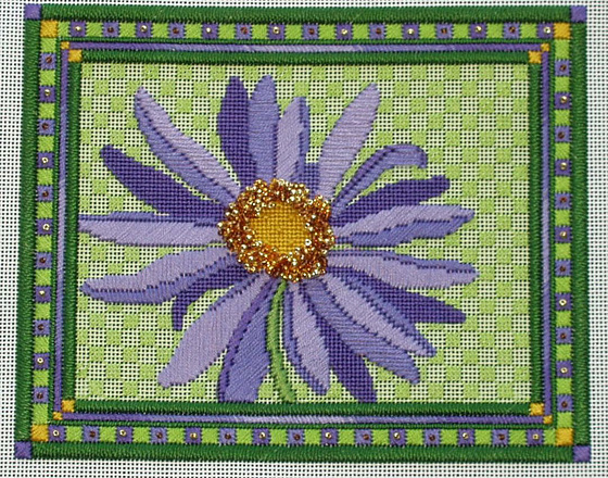 "Purple Daisy with ""messy beading"""