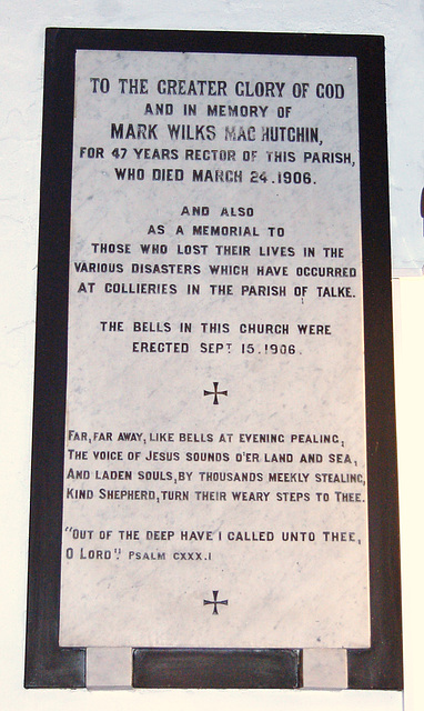 Pit Disaster Memorial, Saint Martin's Church, Talke, Staffordshire