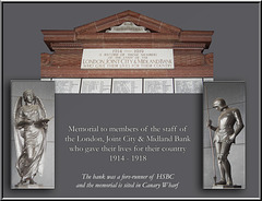 Memorial to staff of London, Joint City & Midland Bank 1914-18 Canary Wharf London