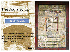 'The Journey Up' mural by William Penn School pupils with Stephen Duncan. When photographed it was sited on North Dulwich station.