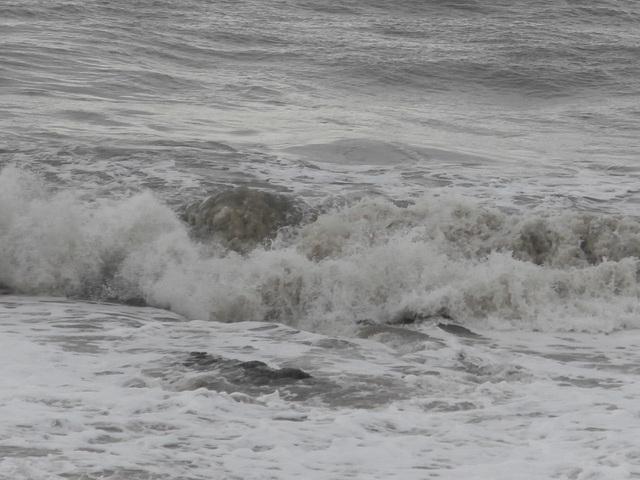 The sea was still turbulent
