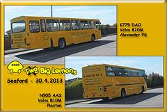 Big Lemon Bus 779 & Coach 905 - westbound through Seaford on 30.4.2013