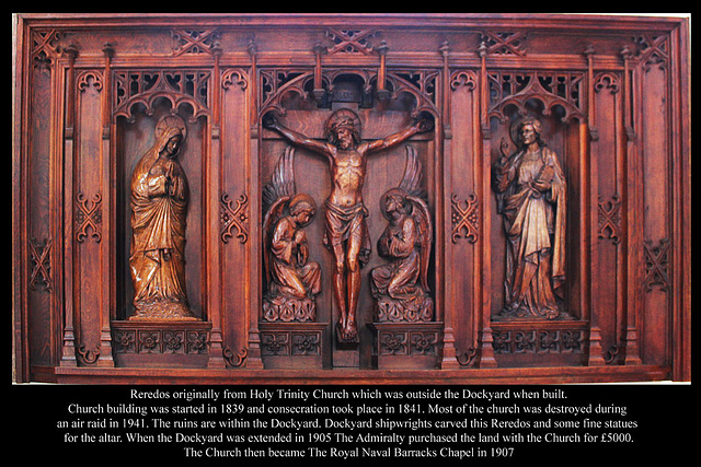 Reredos carved by Dockyard craftsmen