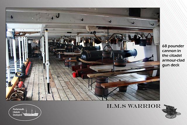 HMS Warrior 68 pdr cannon gun deck 22 8 2012