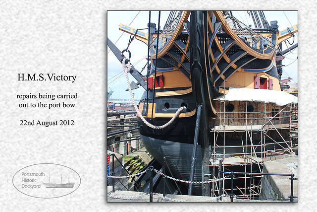 HMS Victory - repairs to port bow - 22.8.2012